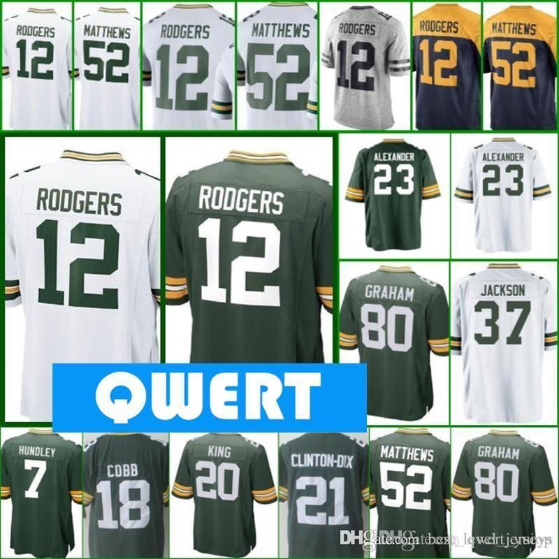 premium selection 4233a 64807 Mens Green Bays Packer jerseys 12 Aaron Rodgers jersey 21 Ha Ha Clinton-Dix  23 Jaire Alexander jersey 80 Jimmy Graham all stitched jerseys