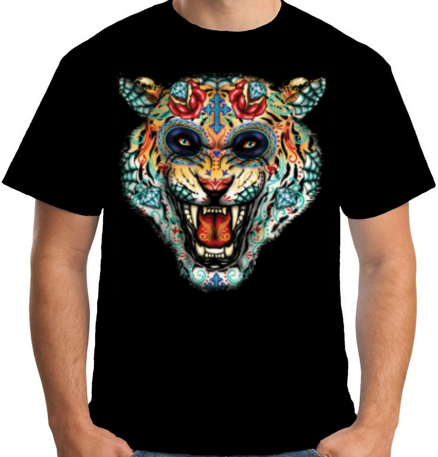 cb3de696fbe7f Velocitee Mens Tiger Tattoo Face T Shirt Day Of The Dead Hardy Jerry W17021  Design Shirts Cool Tshirts From Goldshop76, $11.48| DHgate.Com