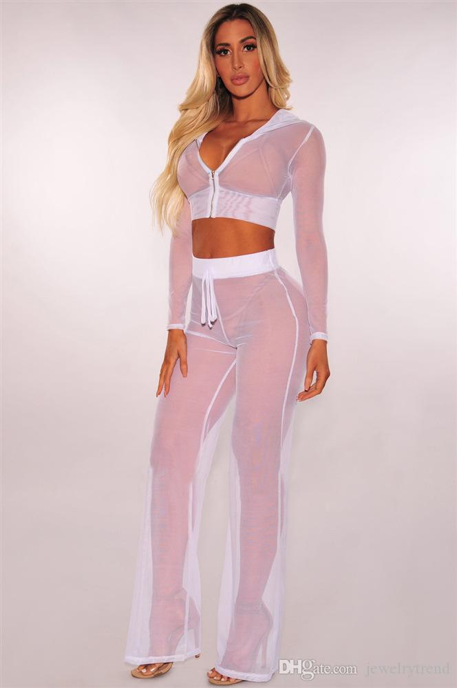 Hot Europe Fashion Women's Sexy Mesh Clothes Set Lady Hooded Long Sleeve Crop Top + Pants Lace Transparent Clothing Suit C4603