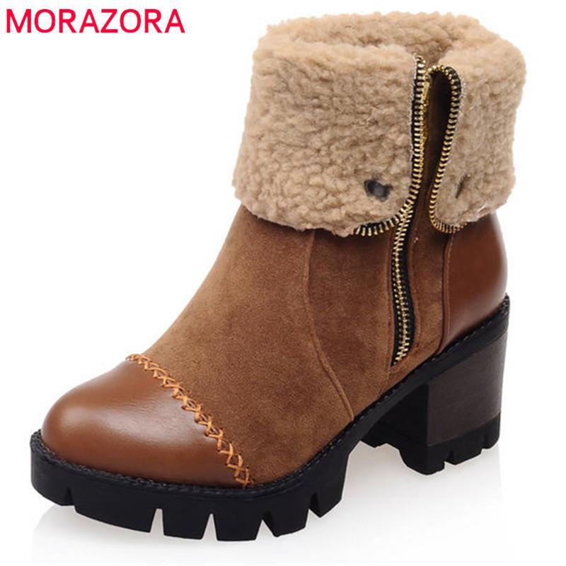 be967b08bd Compre MORAZORA 2018 Tamaño Grande 34 43 Botines Para Mujer Punta Redonda Botas  De Nieve De Invierno Cremallera Simple Zapatos De Plataforma Populares A ...