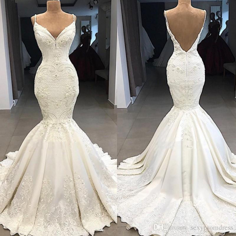 984702e99756 Elegant Lace Mermaid Wedding Dresses Spaghetti Backless Beach Bridal Dress  Satin Sweep Train Cheap Wedding Gowns Custom Made Mermaid Wedding Dresses  Under ...