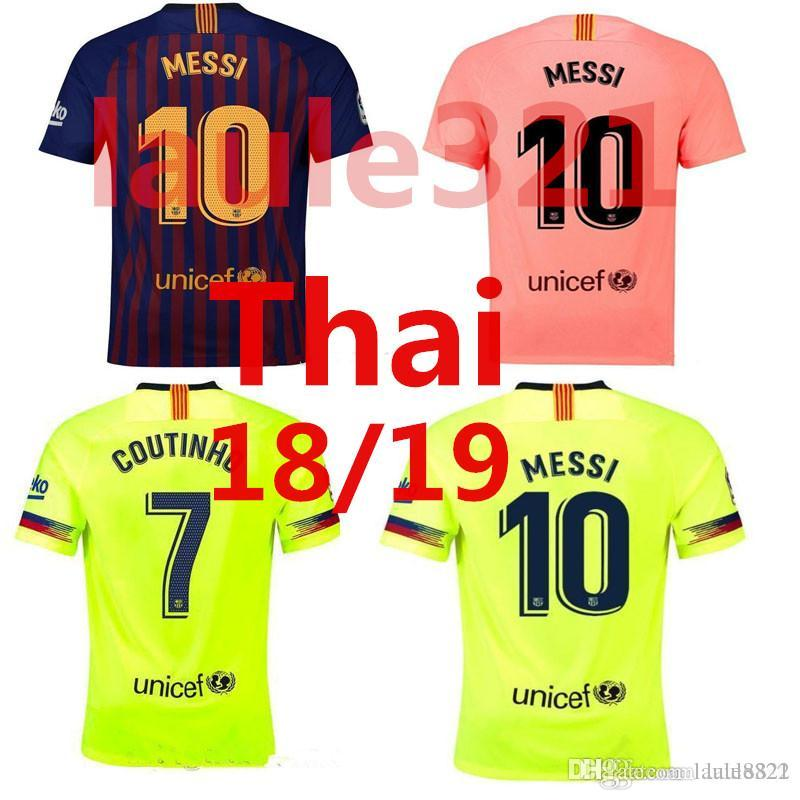 6649fc8c2 2018 2019 FC Barcelona MESSI Soccer Jersey Men Home Away Pink Man ...