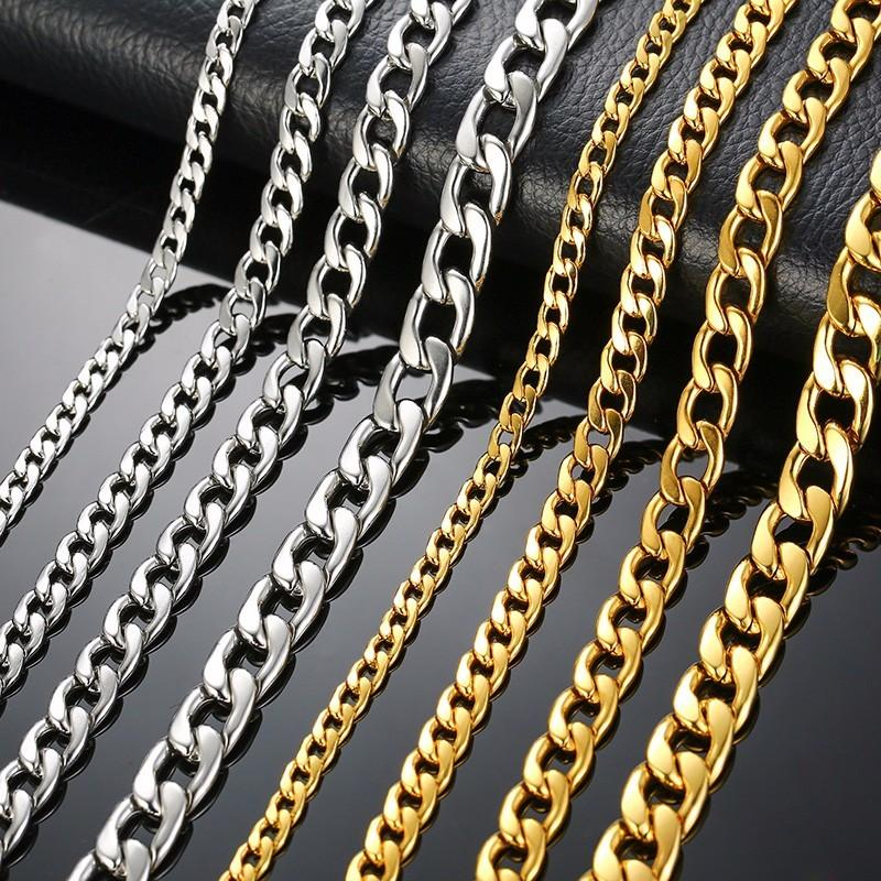 Cheap Chain Necklaces Silver Gold Filled Solid Necklace Curb Chains Link Men Choker Stainless Steel Male Female Accessories Fashion