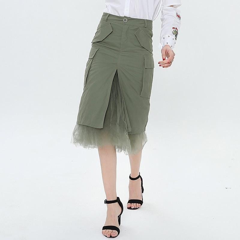 eb466a7c7 Remiendo de tul de las mujeres faldas dividida paquete de cintura alta  falda de la cadera negro vestido midi femenino largo ropa casual moda