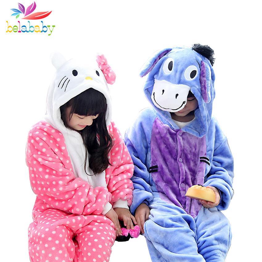 da14f5bc7 Flannel Donkey Hello Kitty Pajamas Autumn Winter Sleepwear For Children  Warm Clothing Hooded Boys Girls Pajamas Cute Clothes Christmas Pyjamas For  Girls ...