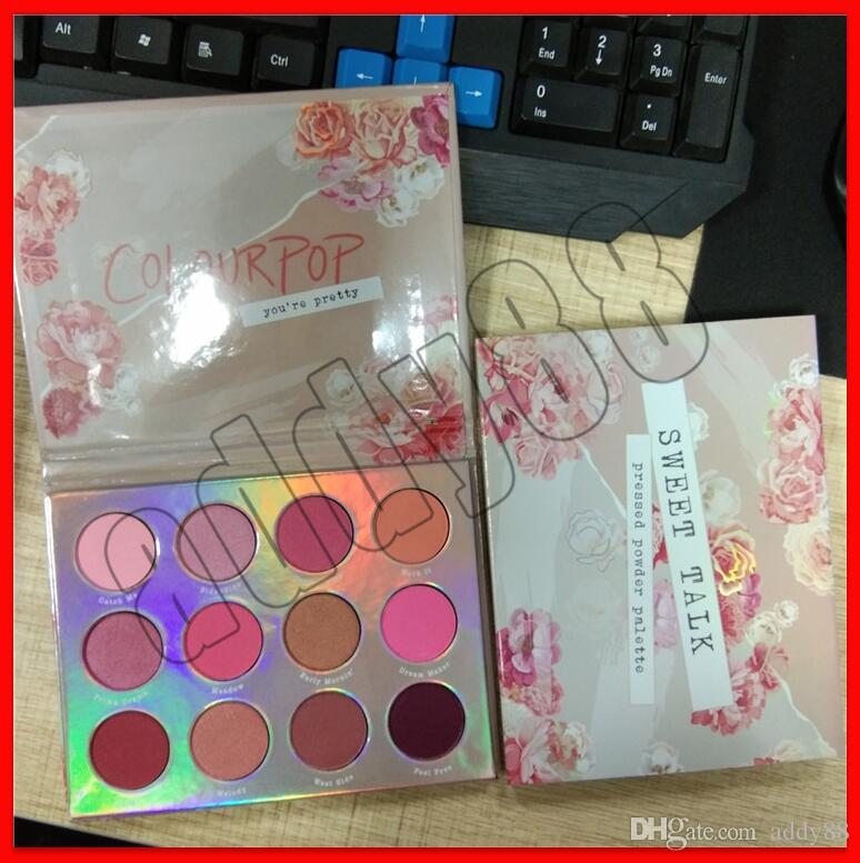 2019 New Face Makeup Eye Makeup Colourpop Sweet Talk Pressed Powder Palette Colourpop you're pretty 12 colors Eye shadow free shipping