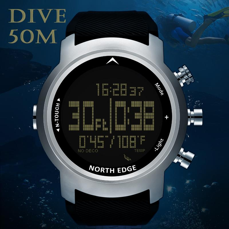 19a1c3b59 NORTH EDGE Men Sport Watch Altimeter Barometer Compass Thermometer Pedometer  Calorie Depth Gauge Digital Watch Diving Climbing Gold Watches Expensive ...