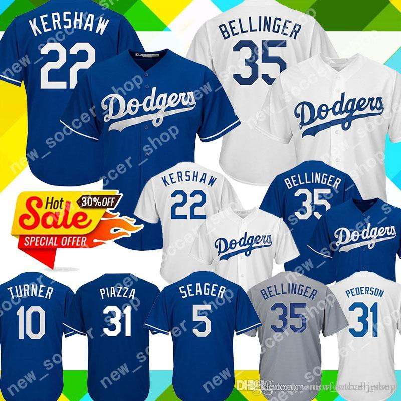 pretty nice 6860d 5e75d 22 Clayton Kershaw Los Angeles Men Dodgers Jersey 35 Cody Bellinger 5 Corey  Seager 31 Mike Piazza 10 Justin Turner 42 Robinson Jerseys