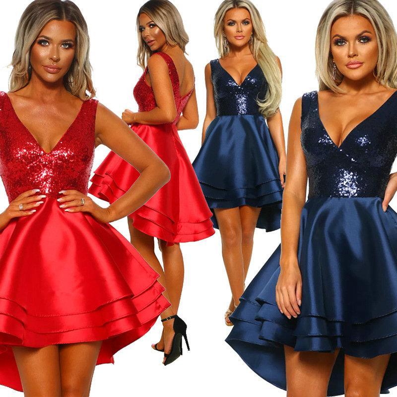 fe3bb704621c8 Satın Al Seksi Sequins V Yaka Kadın Elbise 2019 Sıcak Yeni Parti Kulübü  Elbise Moda Tasarım Ruffles Konak Abiye, $17.38 | DHgate.Com'da