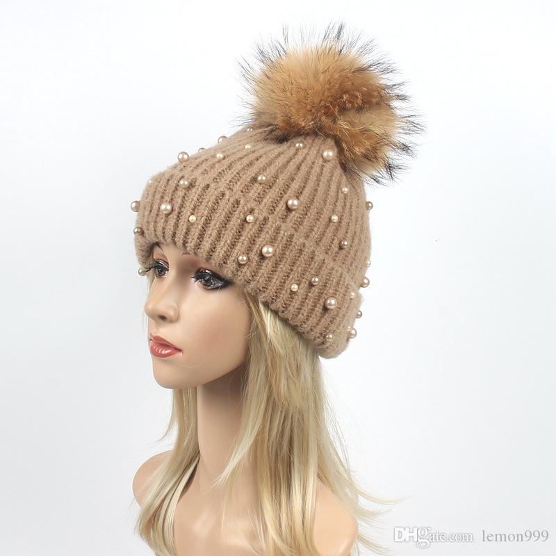 3753992ace4 Woman Winter Hats Beanie Girls Wool Knitted Caps Warm Girls Knitting Hat  Soft Female Beanies Cap Real Raccoon Fur Pom Pom Ball Hats Knitted Hats  Knit Cap ...