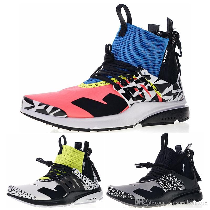 8634984b696e Brand ACRONYM X Presto Mid V2 Designer Men Running Shoes Racer Pink Cool  Grey Darts Street Sport Sneakers Camouflage Graffiti Boots Shoes Running  Boys ...