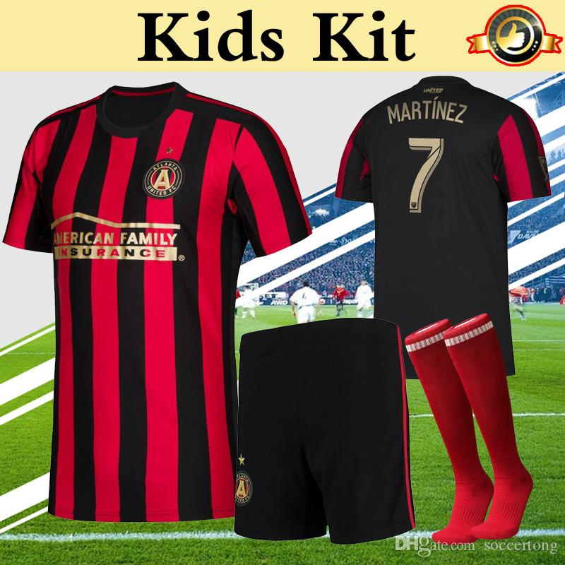 detailed pictures 4fadc 2e3cb MLS 2019 Atlanta United Kids Kit Soccer Jersey Home Red Stripes VILLALBA  MARTINEZ BARCO FC Children Boy Youth Football Uniform