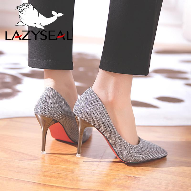 9f93044b506 Designer Dress Shoes Lazyseal Bling Women High Heels Pumps 9cm Stilettos  Heels Sexy Pointed Toe Pumps Woman Heels For Women Ladies Mens Leather  Boots Mens ...