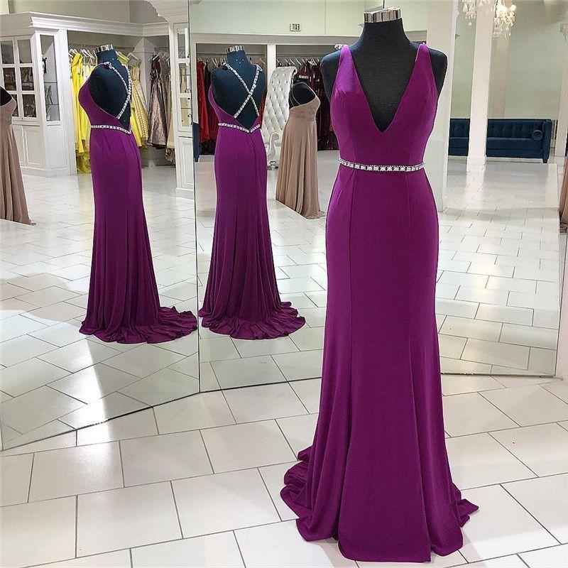 7c1cde18b406f Sexy V-neck Grape Prom Dresses For Women 2019 Elegant Satin A Line Cross  Back Long Formal Evening Dress Party Gowns Cheap Vestido de Festa