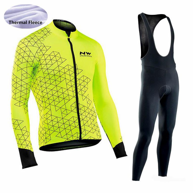 NW Men Cycling Jersey 2018 Pro Team Long Sleeve Set Winter Thermal Fleece  Ropa Ciclismo Outdoor Sport Bicycle Cycling Clothing Bike Short Cycling T  Shirt ... 2e066ffb1