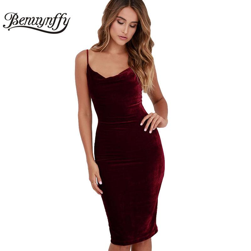3e14217ac1d Benuynffy Women Sexy Spaghetti Strap Midi Dresses Elegant Solid Velvet Club  Party Backless One-Piece Bodycon Pencil Dress Q856 Y181227 Online with ...