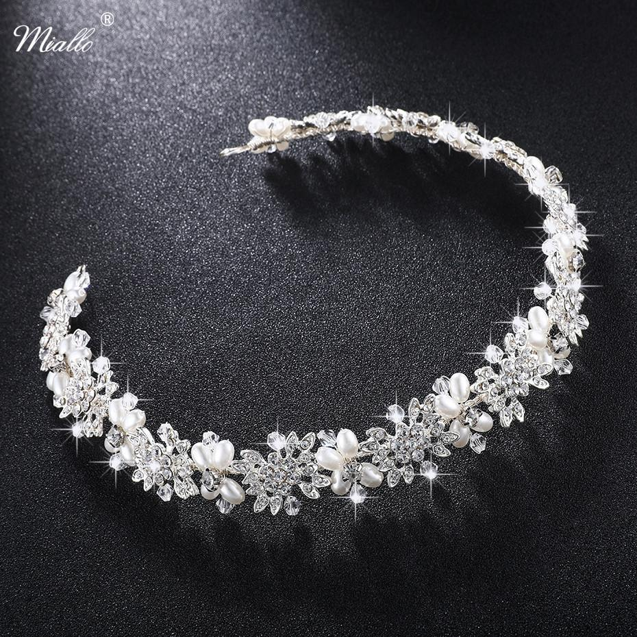 Miallo Luxury Clear Crystal Bridal Hair Vine Pearls Wedding Hair Jewelry Accessories Headpiece Women Crowns Pageant Hs-j4506 J 190430