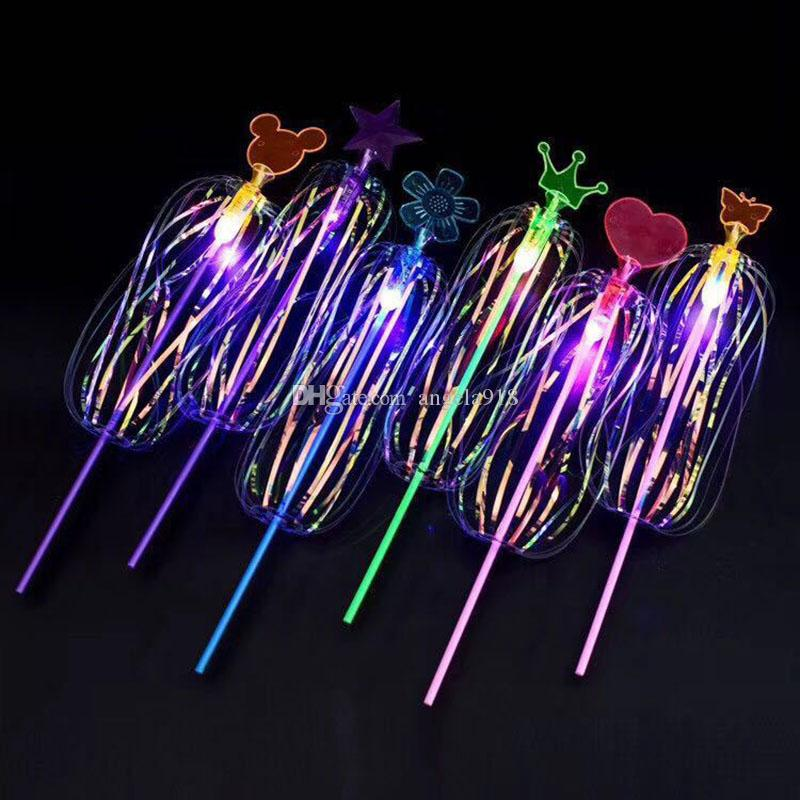 Variopinti giocattoli bambini luminescenti Variety Twist Fun Ribbon Magic bacchetta Flash di luce Bubble flower Glow Stick LED Light Sticks C6608