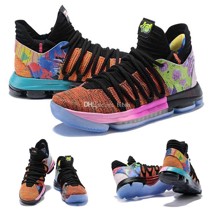 quality design b894f 84ee7 2019 Arrival What the KD X 10s Ice Blue Pink Green Sports Kids Basketball  Shoes 10s quality Kevin Durant 10 EP Athletic Sneakers