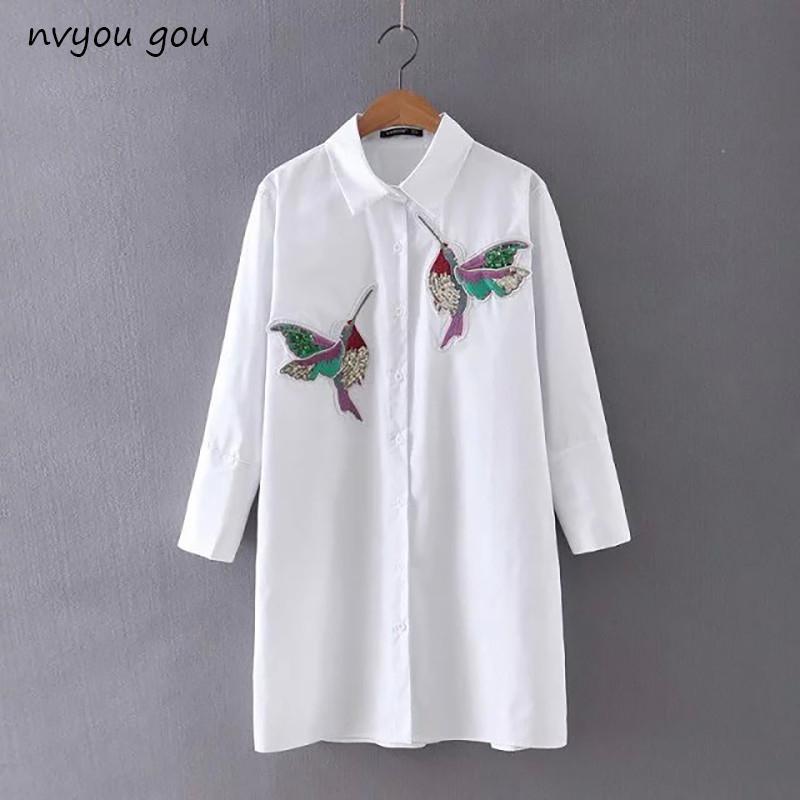 cdaa5393109 Nvyou Gou 2018 Women Bird Embroidered White Long Sleeve Blouse ...