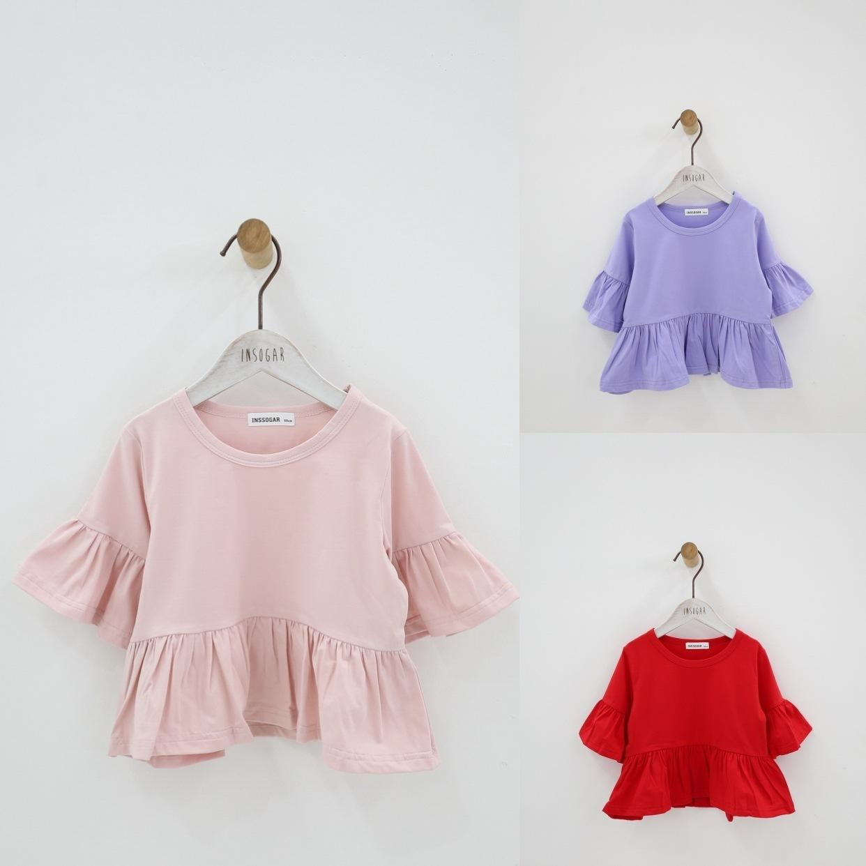 Ruffle Flare Sleeve Summer Girls Blouses Tops Pure Cotton Princess Casual Baby Girl Shirts for Children Kids Clothing Shirts