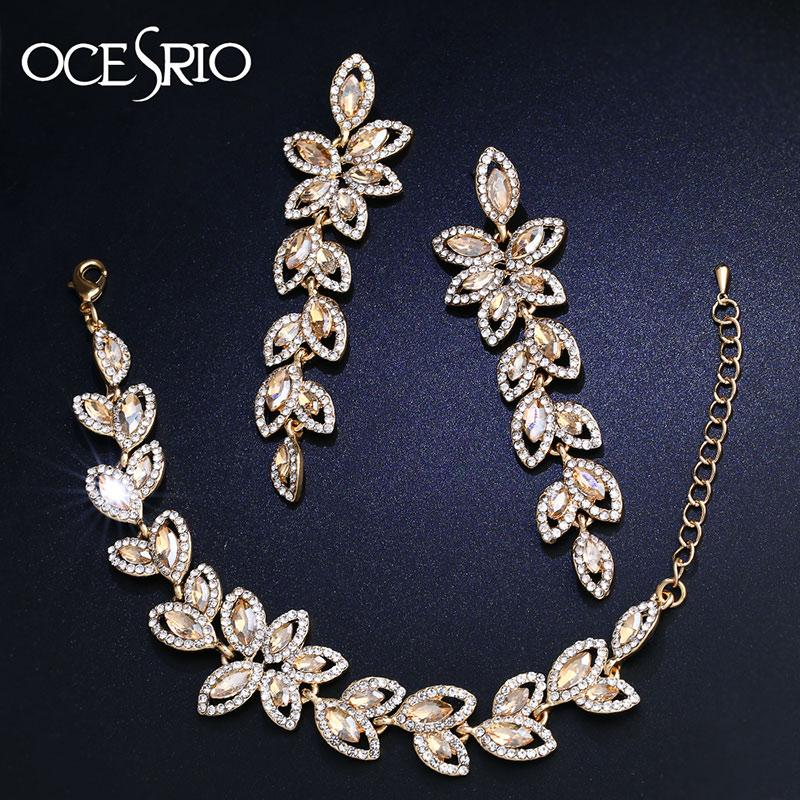 OCESRIO Crystal Luxury Bridal Jewelry Sets Gold Color Flower Wedding Jewelry Sets for Brides Bridesmaid Wedding Jewelry brt-a02