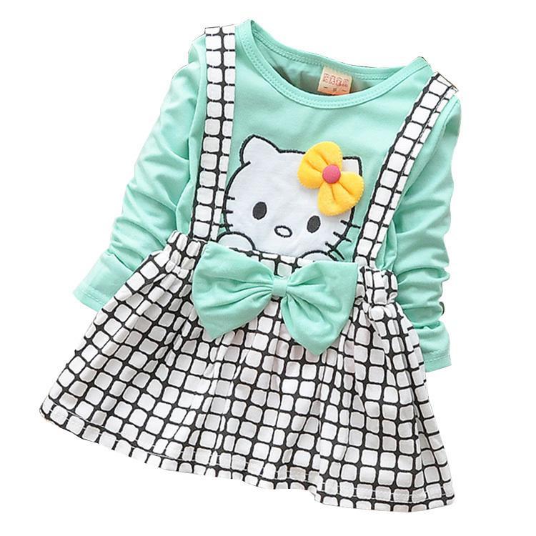42fb49e26 2018 Primavera Verano KT Carrito Vestido de Niña Vestido de Manga Larga  Bebé Niña Princesa Vestido de Fiesta para Niños Ropa de Bebé Correa ...