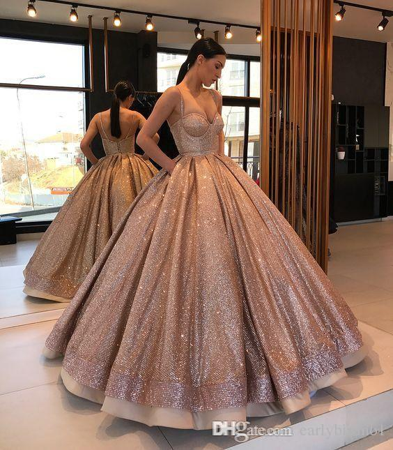 Most Beautiful Ball Gown Wedding Dresses: Rose Gold Sparkly Designer Ball Gown Quinceanera Prom