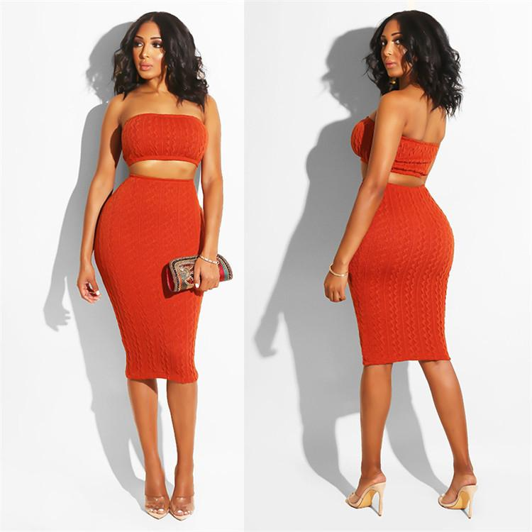 828c42c36fe 2019 Women Sexy Knits Dresses Strapless Tube Crop Top High Waist Midi Skirt  Sets Club Party Slim Skirt Suits Casual Solid Skirts Outfits From  Hengytrade