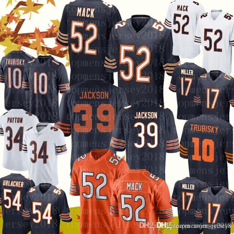 Chicago Bears Jersey 52 Khalil Mack 39 Eddie Jackson Jerseys Mens 10  Mitchell Trubisky 58 Roquan Smith 24 Howard 54 Urlacher 12 Robinson II  Stitched Logos ... 1bb3a873d