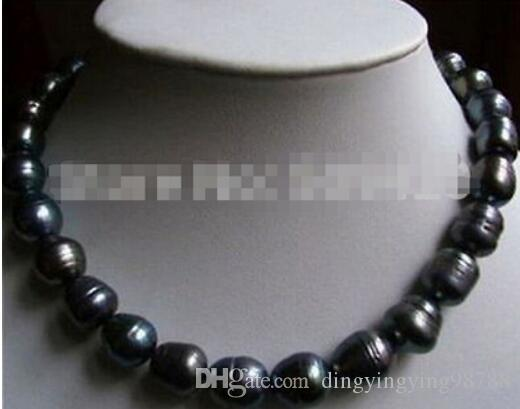 FREE SHIPPING+ NEW 11-13MM NATURAL TAHITIAN BLACK BAROQUE PEARL NECKLACE 17""