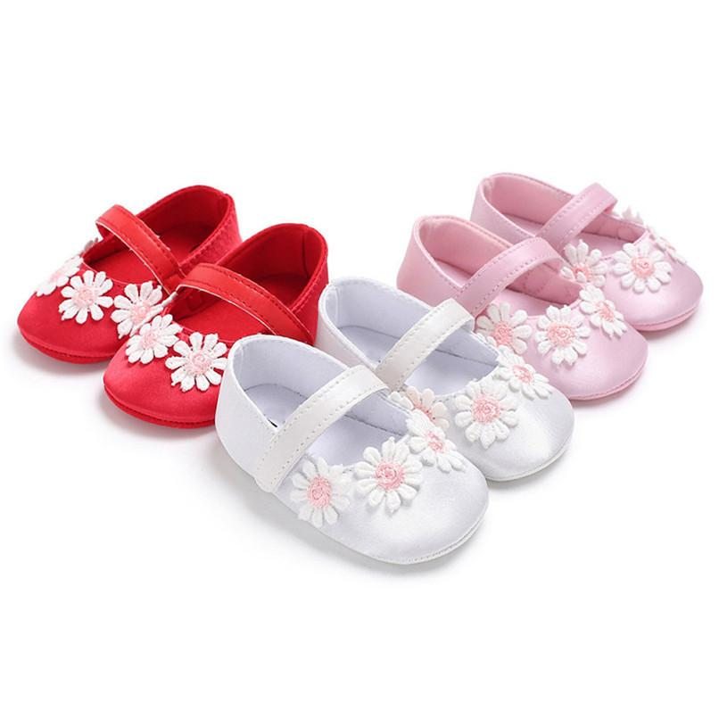 3 Color Baby Girls Shoes Toddler Newborn Infant Kids Baby Girl Flowers Soft Sole Anti-slip Shoes Baby First Walker Shoes M8Y23