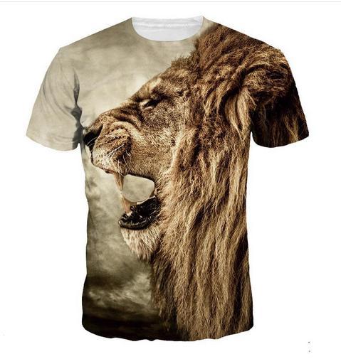 New Fashion Men / Women Lion Funny 3D T-shirt Casual Short-Sleeve T-Shirt  Summer Tops RZC0114