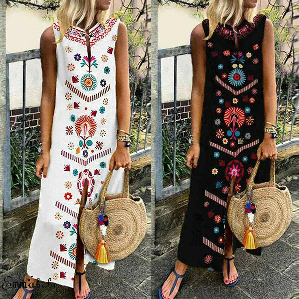 2b5f2c97c8f7f Large Size Women Sleeveless Boho Cotton Casual Linen Kaftan Maxi Dress  Ladies Long Dresses Plus Szie