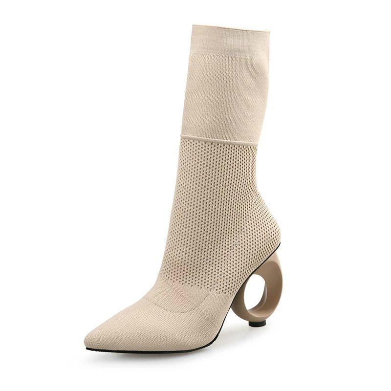 17111fdfcc Compre Outono Inverno Novo Design Mulheres Mid Calf Botas De Tecido ...