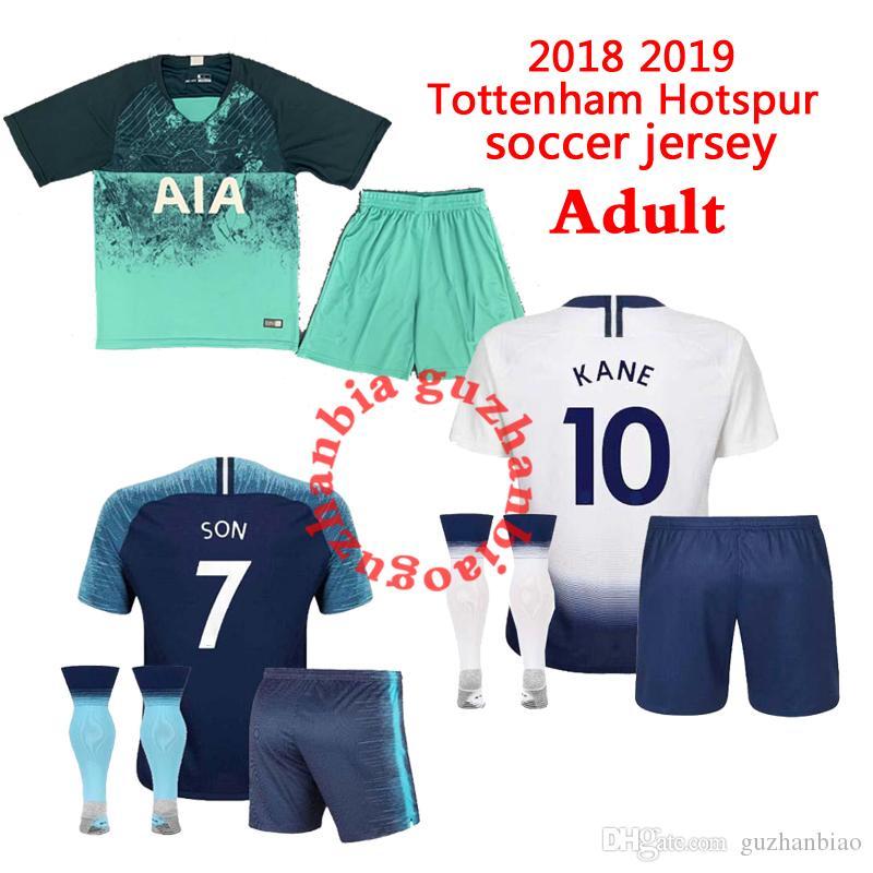 1639ffa2d Adult kits+sock KANE spurs Soccer Jersey 2018 2019 LAMELA ERIKSEN DELE SON  jerseys 18 19 Football kit shirt man KIT SET uniforms