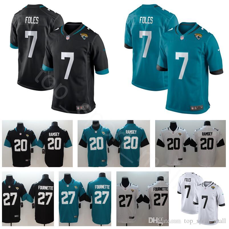 online store cb51e 8efba New Jacksonville Football Jaguars 7 Nick Foles Jerseys 27 Leonard Fournette  20 Jalen Ramsey Black White Green Teal Man Stitch Color Rush