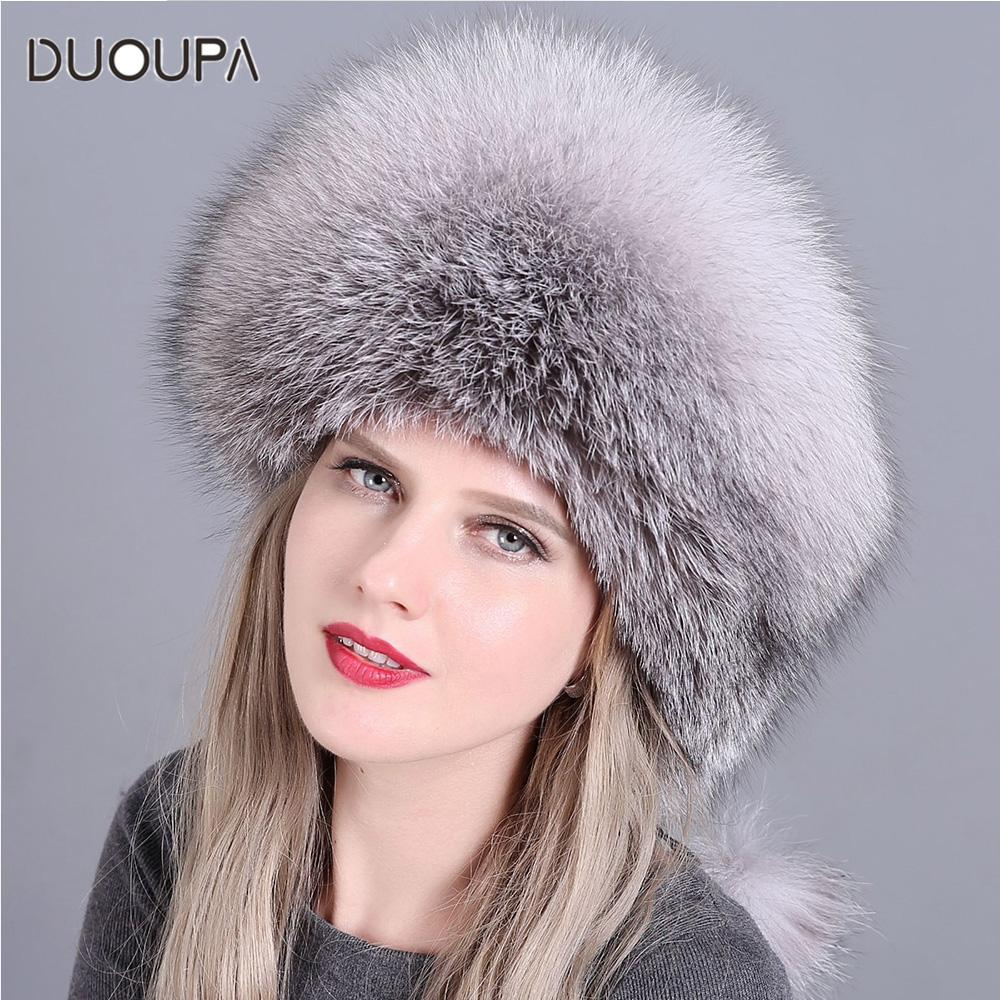 19a5f237e6dfd DUOUPA Fashion New Style Luxury Winter Russian Natural Real Fox Fur Hat  Women Warm Good Quality 100% Genuine Real Fox Fur C Hoodies Beanies From  Turban