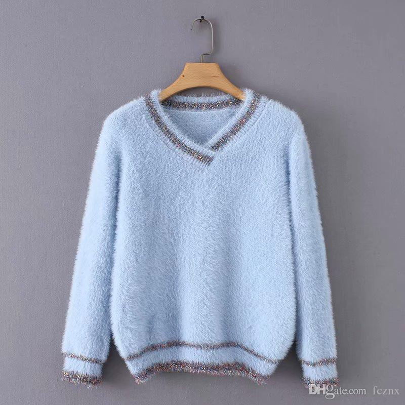 2019 Women Clothing Long Sleeve Patchwork Relaxed Sweater Short Tops ... 7bf00d098
