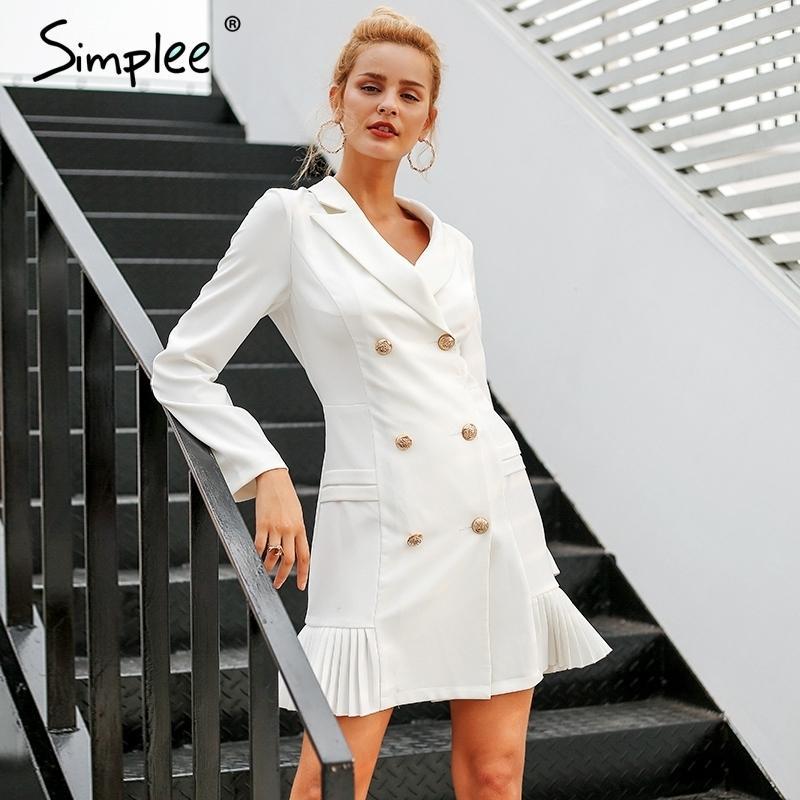 7367df9120 Compre Simplee Elegante Ruffle Double Breasted Mulheres Dress Escritório  Casual Blazer Vestido Branco 2018 Outono Inverno Magro Terno Senhoras  Vestidos ...