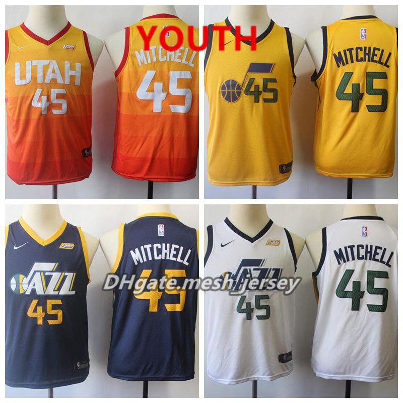 hot sales 534f0 65262 Youth Utah Jersey Jazzs Donovan Mitchell Stitched Baketball Jersey - Black  White Orange
