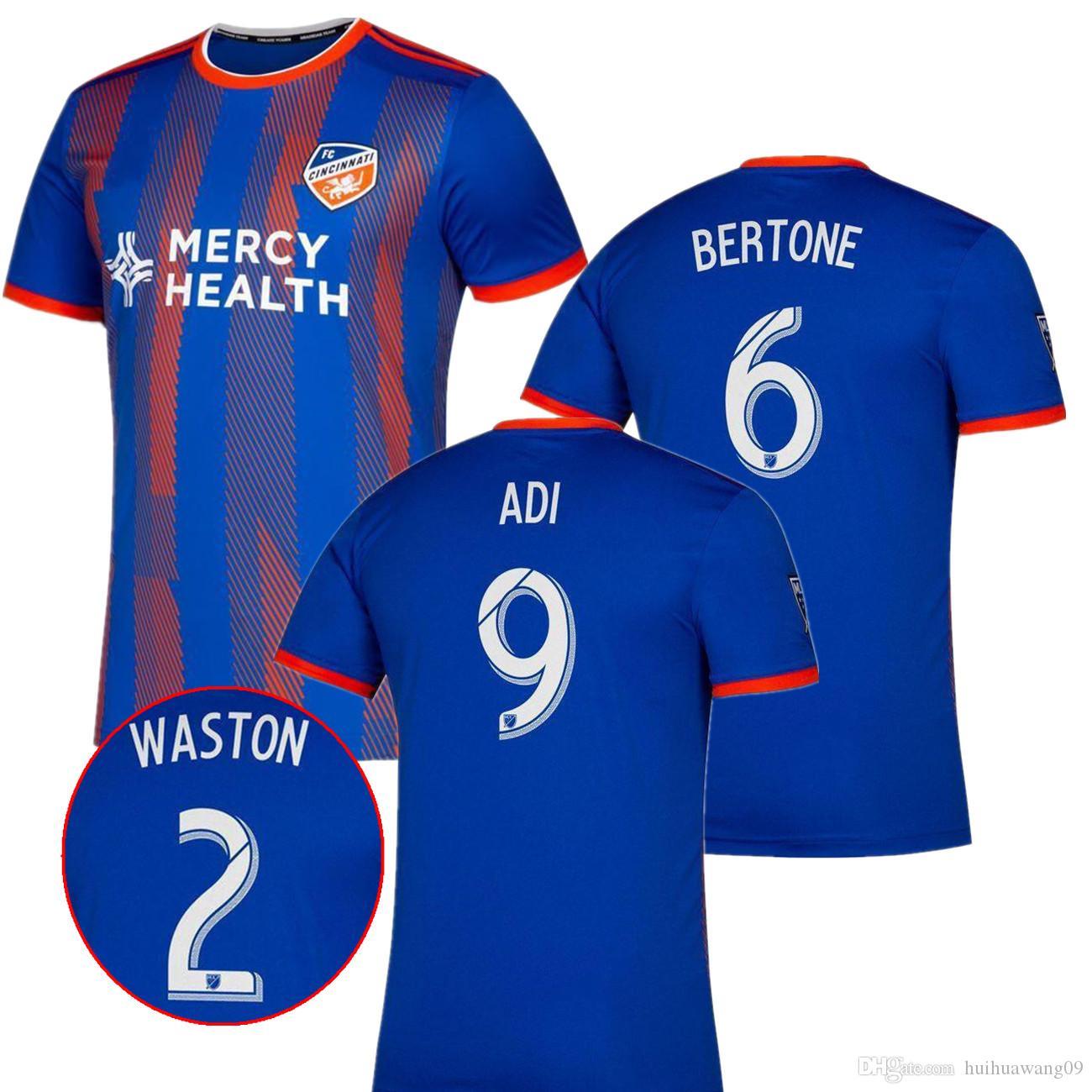 new style f697b 15489 2019 2020 FC Cincinnati Home Soccer jersey 19 20 MLS GARZA WASTON BERTONE  ADI A.CRUZ Adults football jerseys shirt