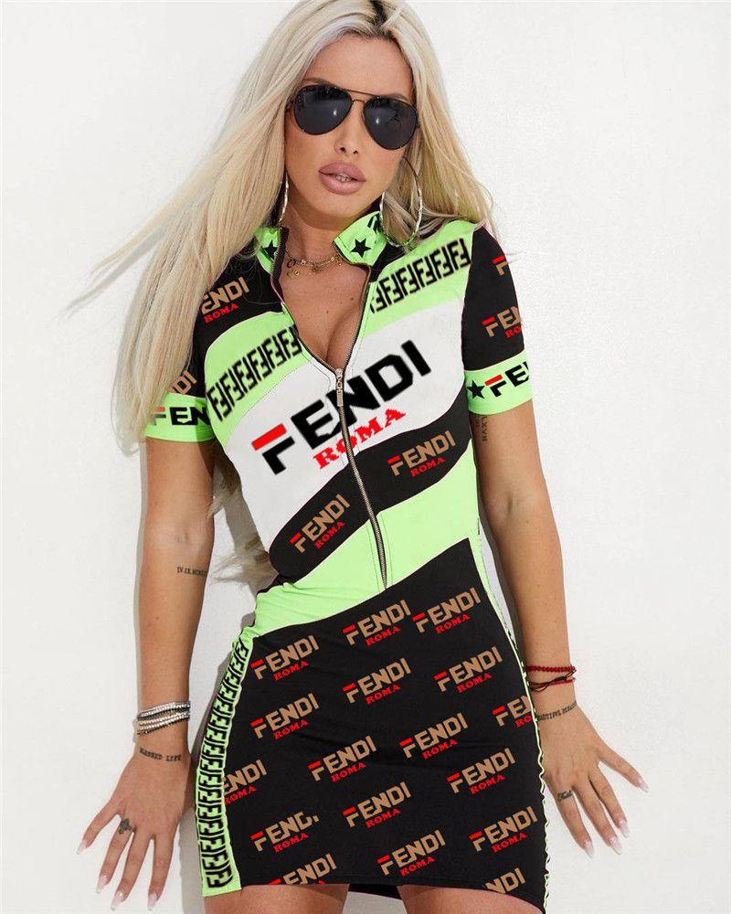 768554670a26 Women F Letter Short Sleeve Summer Dress SHort Sleeve Zipper Skirt Mid Long  T Shirt Dresses Tight Skinny Bodycon Mini Club Dresses A4803 Lace Sundress  ...