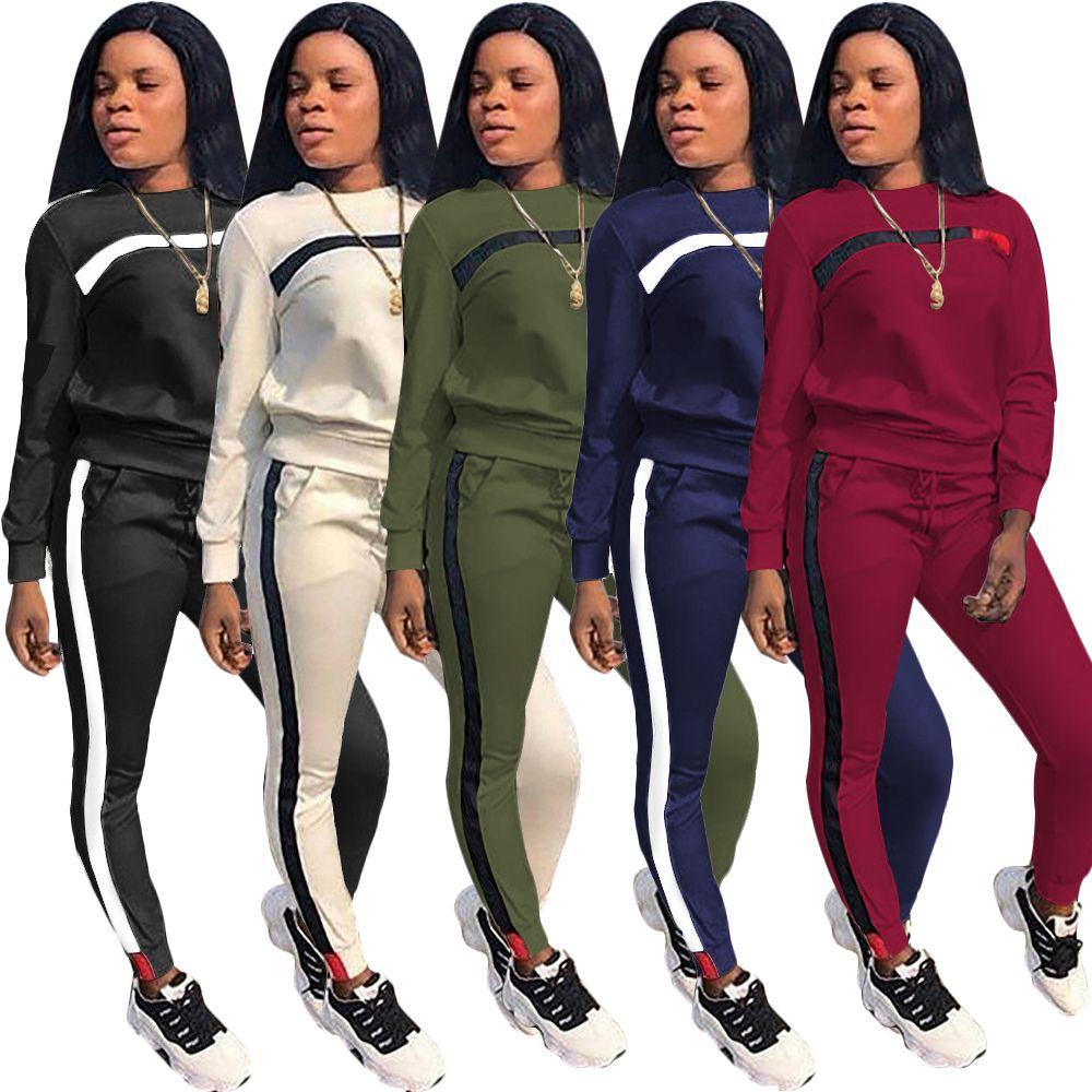 f65d4b62fad Fashion Set Women Pockets Tracksuits 2018 Winter O Neck Long Sleeve Pants  Suits Casual Two Piece Pant Outfits Women 2 Piece Set Women Tracksuit Women  ...