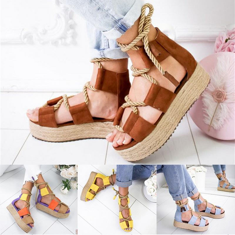Summer Women Platform Peep rope Sandali con tessitura a punta Cinturino con fibbia Open toe Fish Bouth Shoes