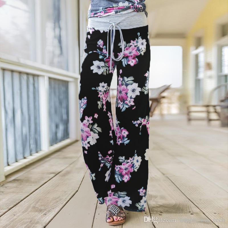 Summer Lady Bohemian Floral Pants High Waist Wide Leg Trousers Loose Pants Gray Black Blue Plus Size S-XXXL 0902