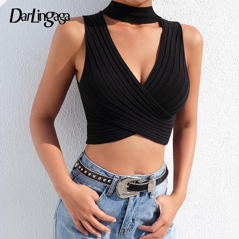 Darlingaga D Gilet Noir Débardeur Été Court Cou Femmes Sexy Croix Mince Tops Top Mode Y19042701 2019 Tricoté Cropped De V Choker Crop Solide 1clF3KTJ