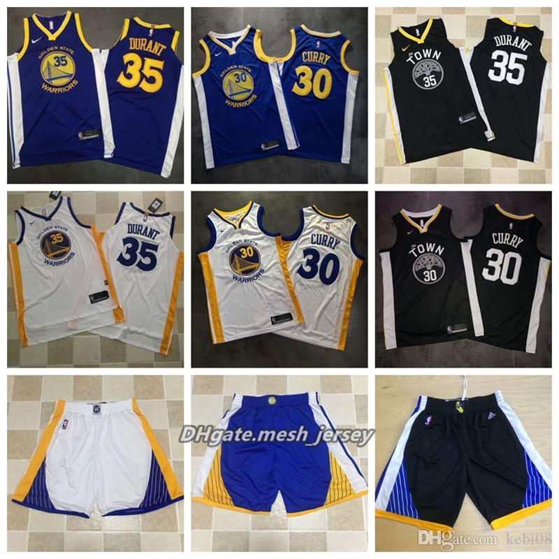 meet 55938 9033a Mens Golden State Basketball Warriors 30 Curry Jerseys 35 Durant Shorta AU  Mesh Fabric Jerseys Dense Logo - White Black Blue