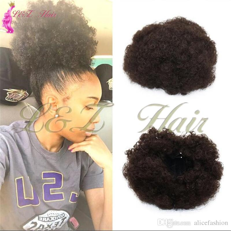 Synthetic Short Afro Kinky Curly Drawstring Ponytail High Temperature Pony tail Clip in Extensions on Curly Hair Bun
