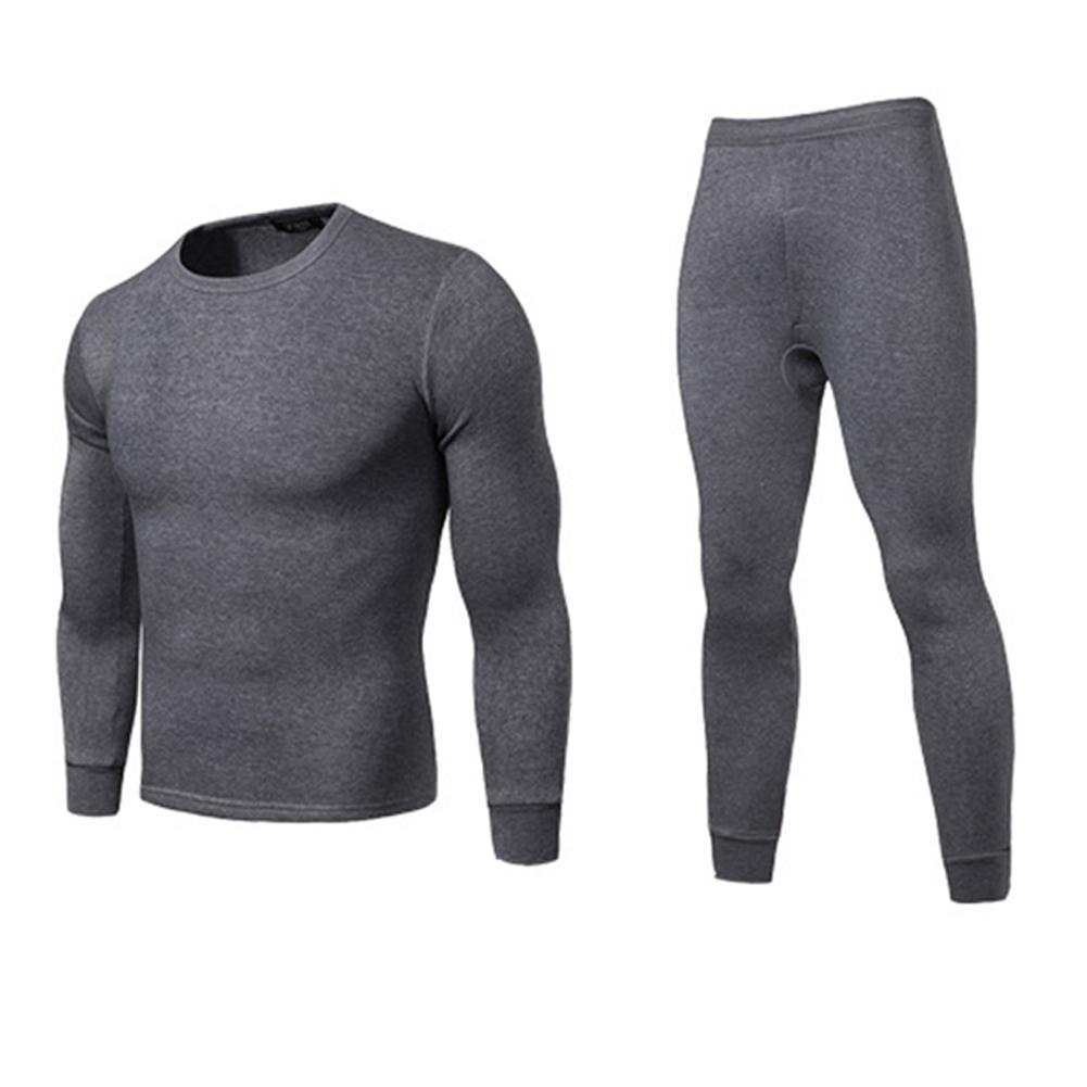 a5522826a2f2 Men Winter Warm Long Johns Plus Size Solid Color Thermal Long Sleeve ...
